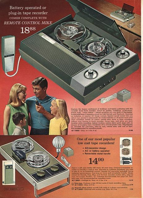 Reel to Reel Tape Recorders in Montgomery Ward Christmas Catalog, 1968, by Wishbook, via Flickr