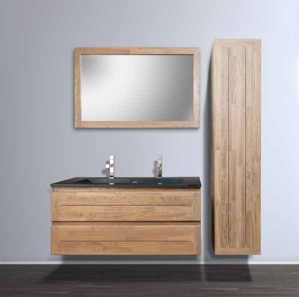 Designradiator Keuken Smal : Warme combinatie: natuurlijk hout met glanzend zwarte wastafel