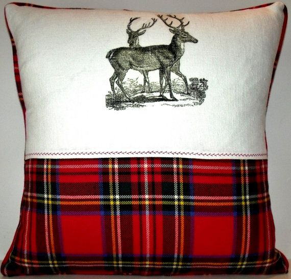 Jean Paul Gaultier Pure Wool Royal Stewart Tartan Throw Pillow Stag Printed Linen Cushion #fbloggers