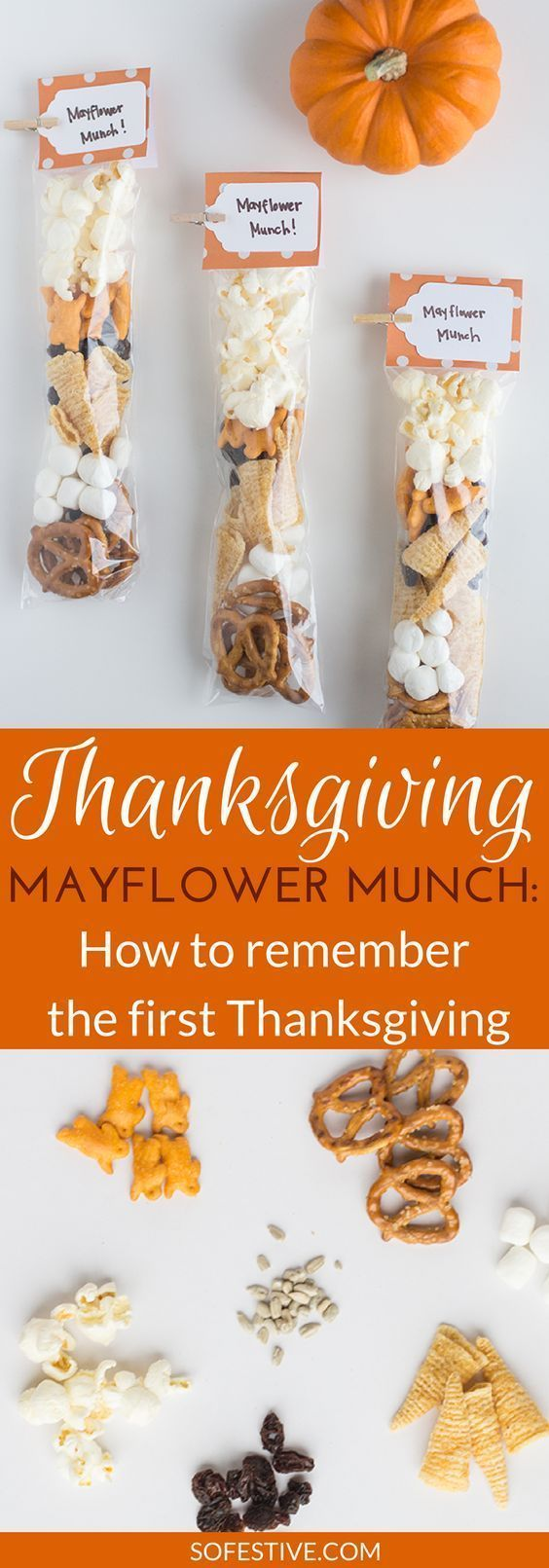 Clever way to remember the First Thanksgiving with these cute Mayflower Munch Thanksgiving Snack Bag ideas- Thanksgiving snacks for kids #thanksgivingcraftforkids