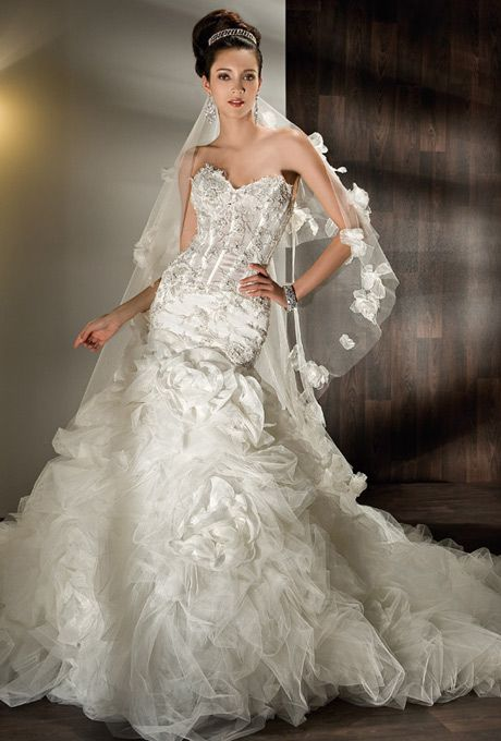 Nice Strapless organza and tulle fit and flare dress with a Wedding Dresses Under