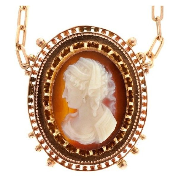 Pre-owned 14K Rose Gold with Carved Carnelian Hardstone Cameo Pendant... ($2,095) ❤ liked on Polyvore featuring jewelry, necklaces, vintage rose gold necklace, rose gold pendant, 14k pendant, vintage necklace and vintage pendant