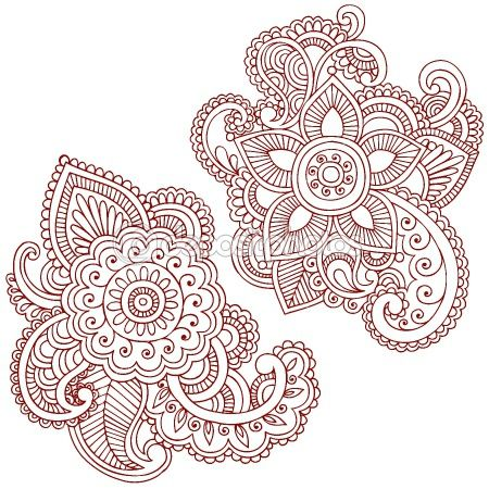 Henna Mehndi Pasiley Mandala Flower Doodles Vector — Imagens vectoriais em stock #2764710