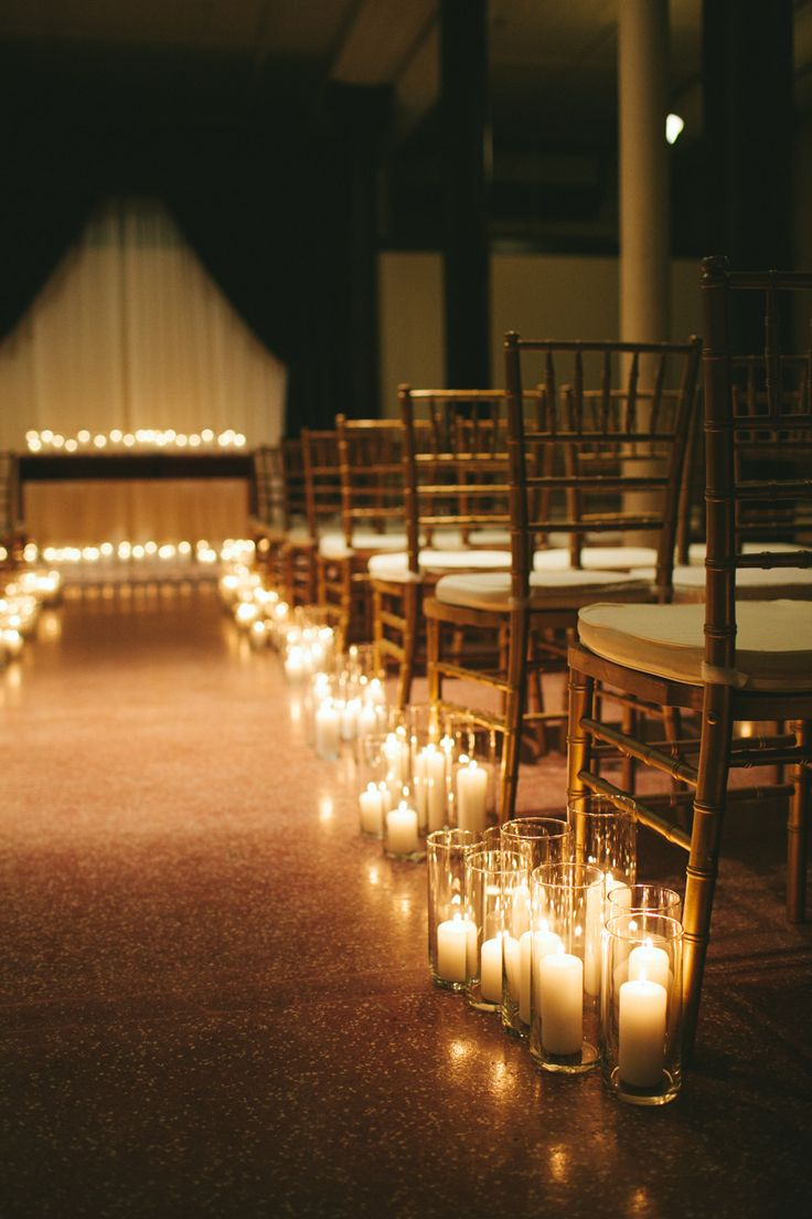 #aisle-decor, #candle  Photography: Woodnote Photography - woodnotephotography.com Photography: Caroline + Jayden Of Woodnote Photography - www.woodnotephotography.com  Read More: http://www.stylemepretty.com/2014/05/01/romantic-candlelit-evening-wedding/