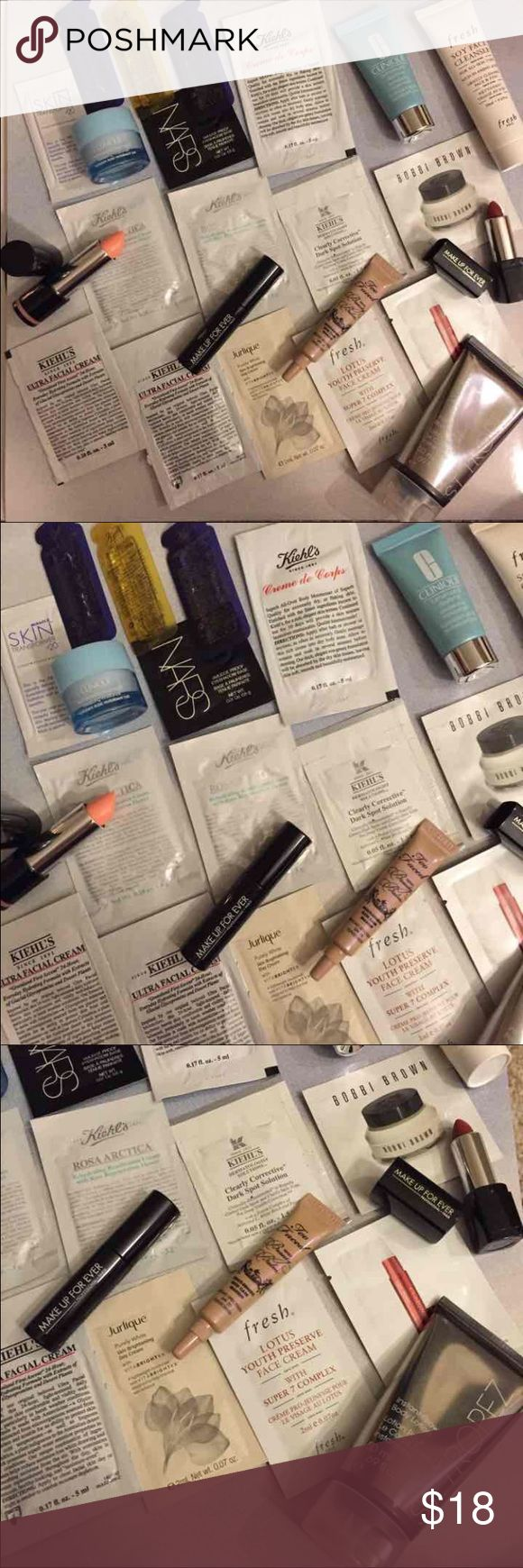 HUGE 23 Piece Beauty Bundle Fresh Youth Cream Jurlique Skin Day Cream Kiehls Face Cream x2 Kiehls Rosa Arctica x2 Kiehls Clearly Corrective Too Faced Tinted Beauty Balm Clarins Correcting Concentrate Bobbi Brown Face Cream Kiehls Crème de Corps NARS Eyeshadow Base Kiehls Daily Concentrate Kiehls Midnight Concentrate x2 Miracle Skin Transformer Fresh Soy Cleanser Clinique Daytime Moisturizer Clinique Overnight Moisturizer Make Up For Ever Mascara Make Up For Ever Lipstick Lanternshine…
