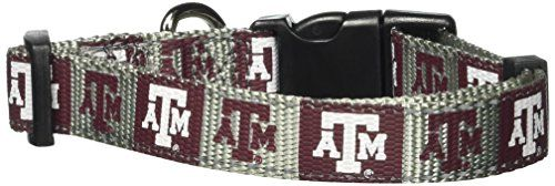 Pet Goods NCAA Texas A & M Aggies Dog Collar, Medium:   Now your pets can strut their school spirit in style and with safety in mind. Our premium quality nylon collars have reflective fabric woven into the top and bottom edges and a heavy duty, injection molded quick-release buckle for added piece of mind. A sturdy D-ring is provided for easy lead attachment.