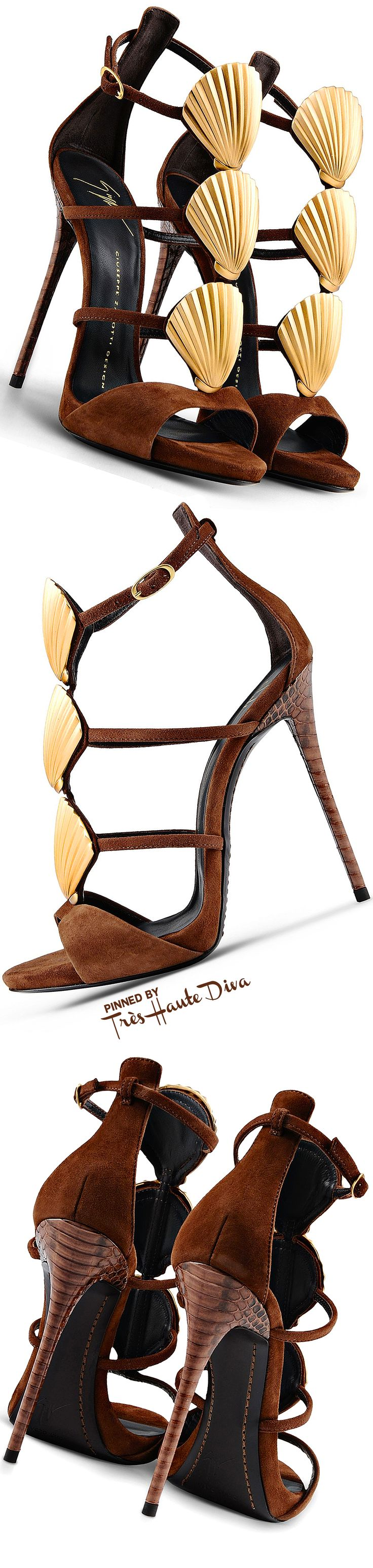 Giuseppe Zanotti Chestnut Suede Sandals With Gold Metal Shells and Precious Elaph Heels ♔Très Haute Diva♔
