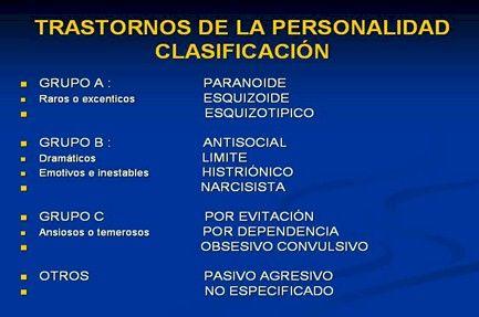 ... TRASTORNOS DE LA PERSONALIDAD. Clasificación. http://www.portalesmedicos.com/publicaciones/articles/4578/1/Trastornos-de-la-personalidad.html