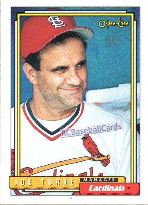 1992 Joe Torre Cardinals 1 O Pee Chee 549 Baseball Cards St