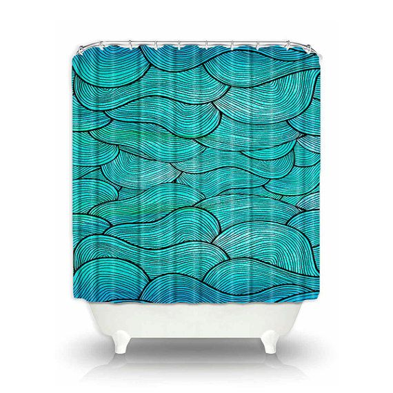 Nautical Bathroom Shower Curtain Ocean Waves by PomGraphicDesign