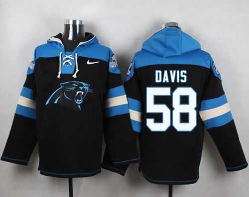 Nike Panthers 58 Thomas Davis Black Player Pullover NFL Sweatshirt Hoodie