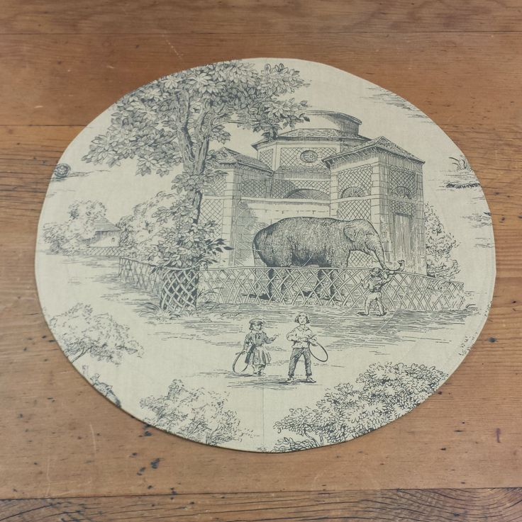 Set of 4 Round Quilted Placemats in Victorian Zoo Toile Novelty Cotton Fabric, Black Taupe, Elephant by FeeneyLane on Etsy