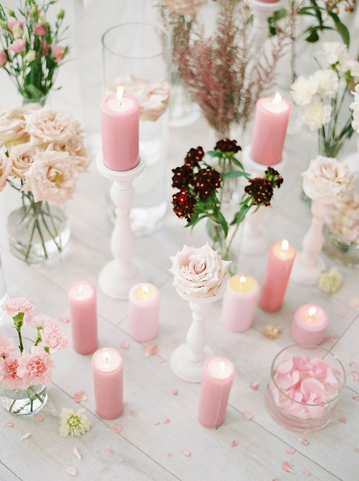 Pillar Candles and Fresh Flowers in Lavender and Blush Pink  https://heyweddinglady.com/bridal-romance-blissful-lavender-blush-pink/     #beauty #bride #wedding #weddings  #weddingideas #floral #flowers #weddingflowers #floraldesign #purplewedding #pinkwedding #pastels