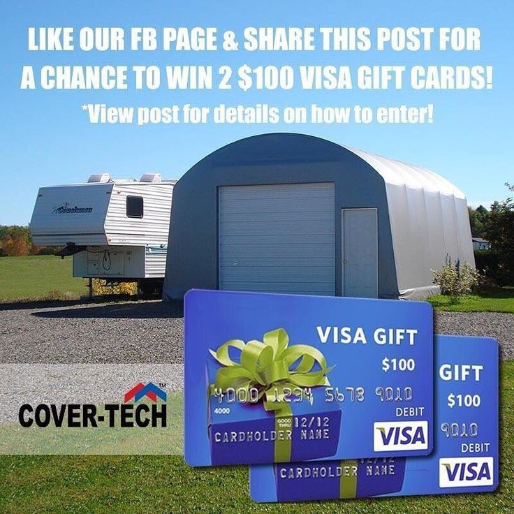We are giving away 2 $100 (CAD) Visa Gift Cards to 2 lucky winners for this monthly giveaway! . You can enter it from our Facebook Page or Twitter Fan Page! . #freegiveaway #giveaway #contest #visagiftcard #freebies #freestuff #entertowin #prize #win #free #follow #likeandshare #freemoney #portablegarage #covertechinc
