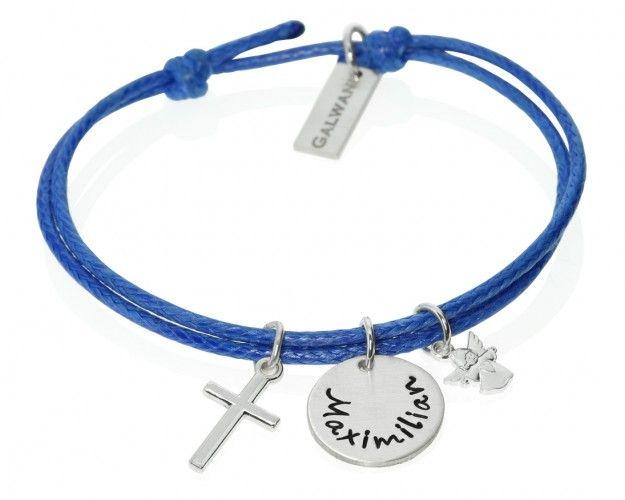 Taufarmband mit Namen aus 925 Silber. An dem Armband hängt eine kleiner Engel und ein kleines Kreuz als Zeichen für die Taufe. Das Armband ist in verschiedenen Farben möglich.