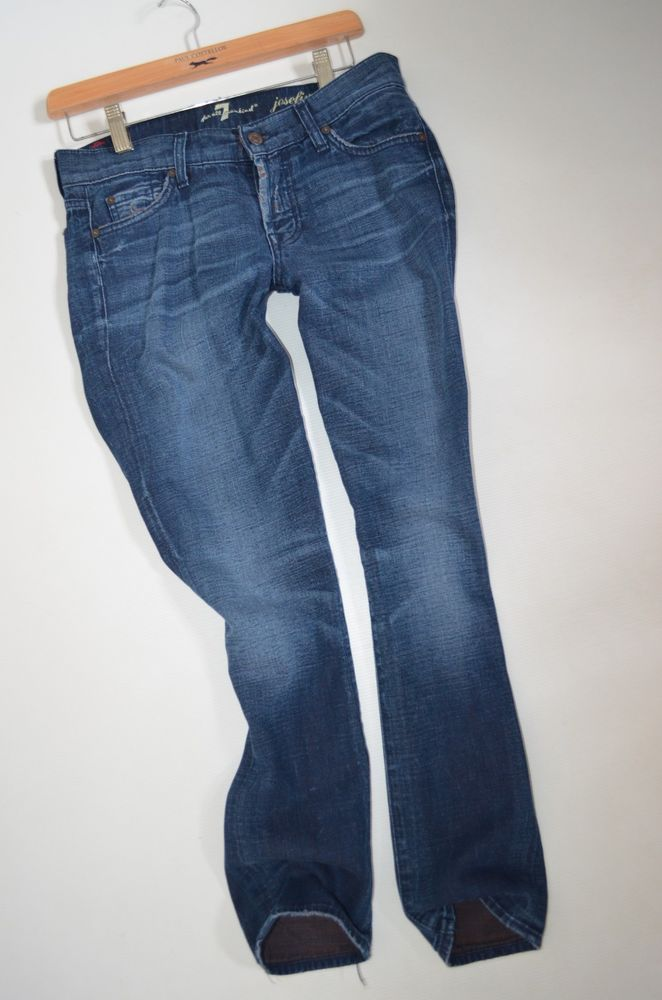 7 For All Mankind Josefina Jeans Size 25 Uk 8 Boyfriend Crop Rip