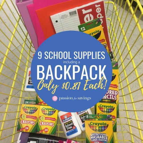 photo relating to School Supply Printable Coupons named WOW! $7.25 for 9 University Resources Which includes a BACKPACK at