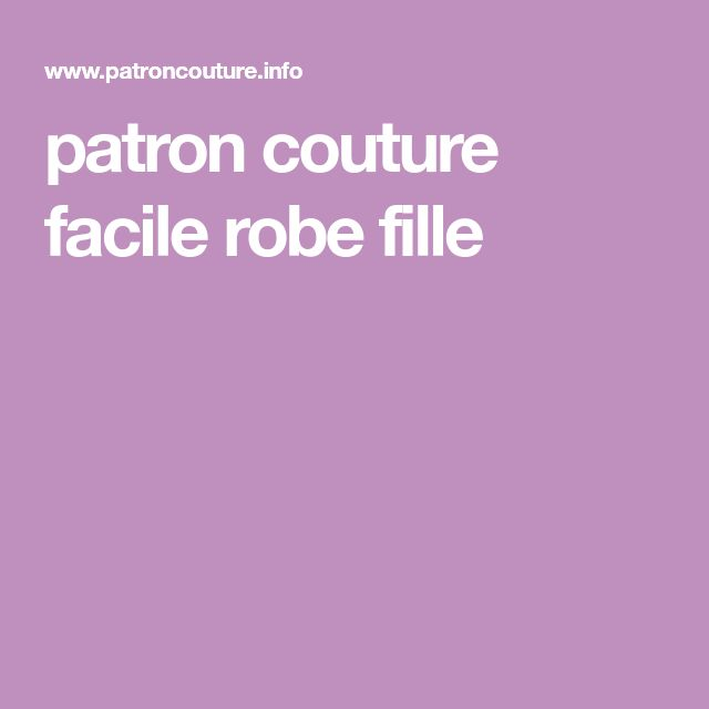 patron couture facile robe fille