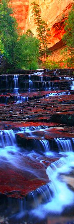 The Archangel Cascades at Zion National Park in Utah, USA