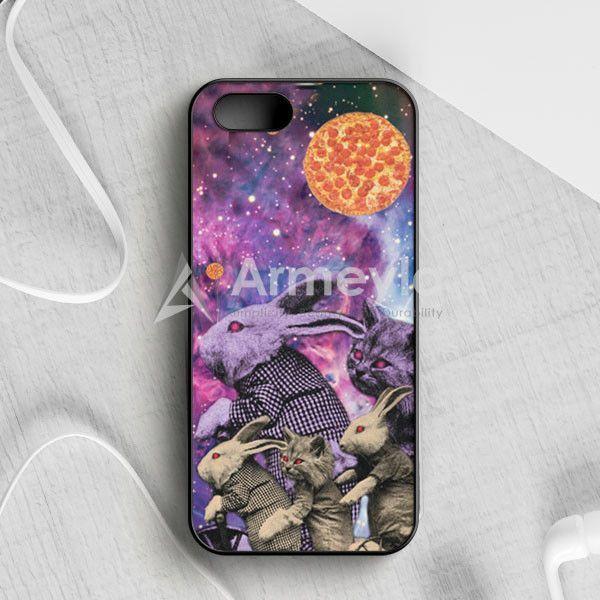 Purple Pizza Galaxy Bunnies & Cats iPhone 5|5S|SE Case | armeyla.com