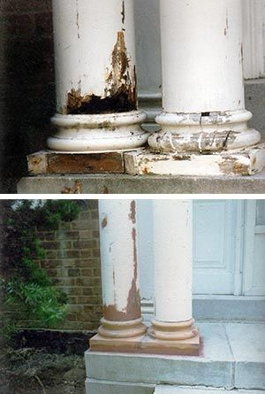 Close Up Of Column Bases With Missing Pieces Diy
