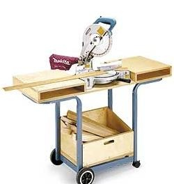 BBQ Re-do  Don't need a mitre saw, but can see the possibility of making into a table for stained glass work bench w/storage.  Like that it's moveable.  Bettye