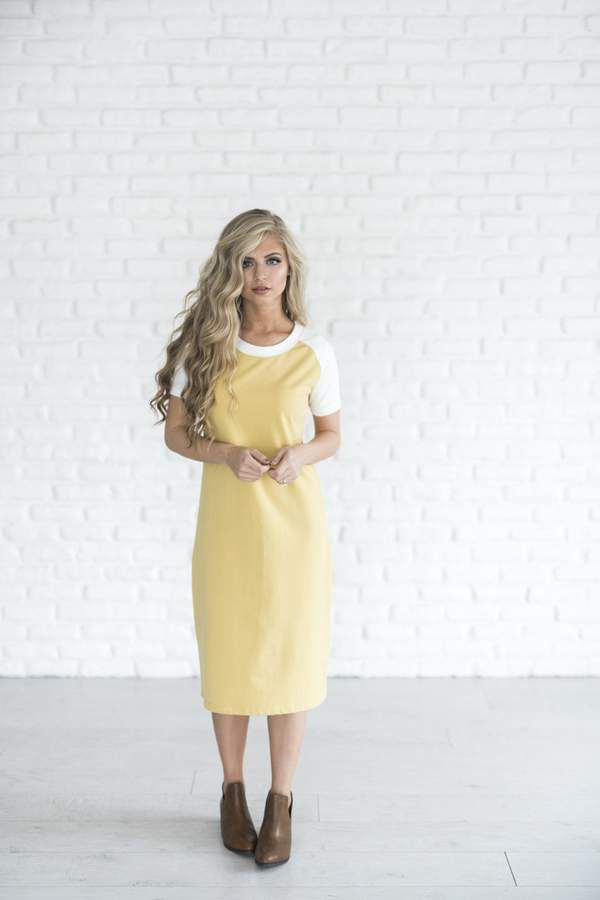 Baseball Dress - Mustard #ad