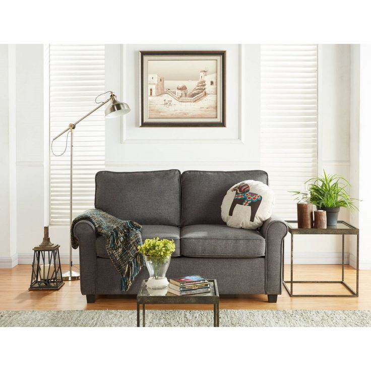 The Mainstays Loveseat Sleeper with Memory Foam Mattress is the perfect secondary sleeping solution. This loveseat sleeper features no-tool easy assembly, a plywood frame construction for lasting stability and dark espresso finished faux wood legs. Easy operating sofa bed mechanism converts from sofa to bed quickly. Upholstered in a durable woven grey polyester fabric, this sofa sleeper offers the best comfort for secondary sleeping in your family room, casual living rooms or guest rooms.