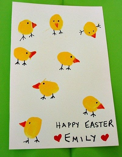 Thumbprint Easter Chicks Card Craft by kiboomu: The smaller the thumb, the cuter the card : )  #Kids  #Easter_Chicks_Card #Thumbprint   @Shannon Bellanca Bellanca Day THIS is what we can do too!!!