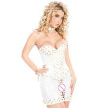 New Steampunk Clothing 2 Pcs Women White Vinyl Leather Corset Dress Overbust Sexy Rivet Corpete Corselet With Wetlook Mini Skirt //Price: $US $30.67 & Up To 18% Cashback //     #steampunktendencies