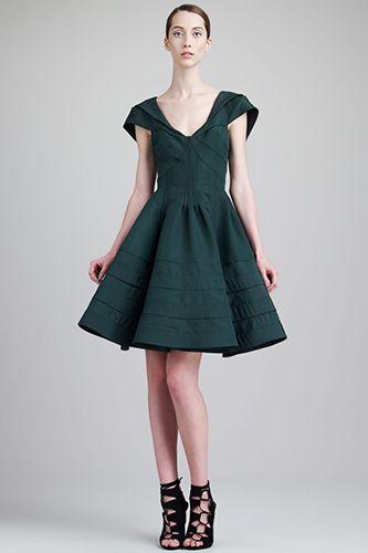 Zac Posen V-Neck Flare Dress, $1,990