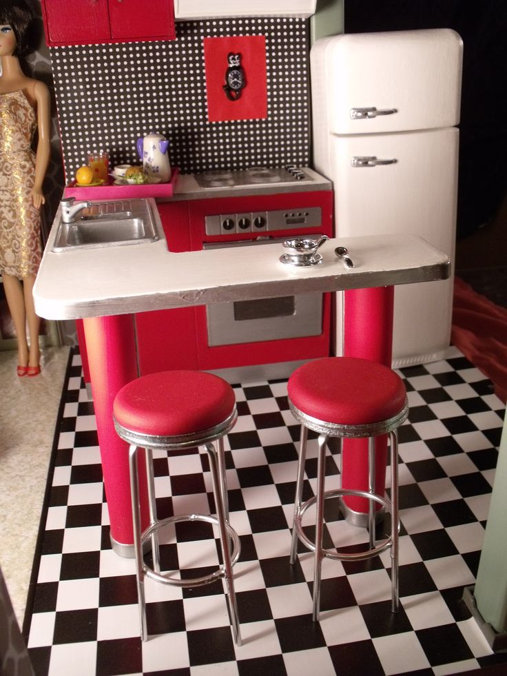 Barbie doll RETRO 1950s KITCHEN ... custom creation by CHANIKAVA