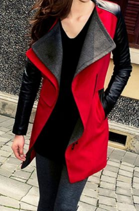 Red Leather Sleeve Jacket Casual Women's Jacket Polyester Leather Sleeves Red and Black Size XL
