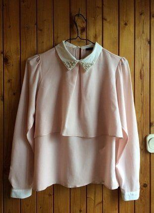 Kup mój przedmiot na #vintedpl http://www.vinted.pl/damska-odziez/koszule/17026418-bluzka-koszulowa-pastelowa-roz-kwiatki-stokrotki-perly-kolnierz-collar