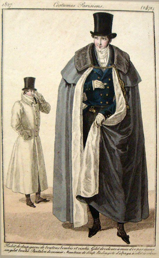 Garrick coats of the Empire Period typically have three to five cape collars and were worn by both men and women. They are sometimes called a coachman's coat.