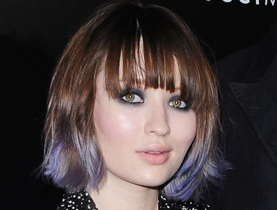 Emily Browning's Purple Dip-Dyed Tips
