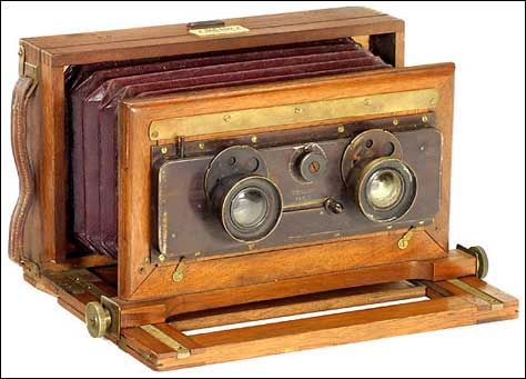 Old antique camera: French Stereo camera c1890 Unknown maker Photo-Sport tag