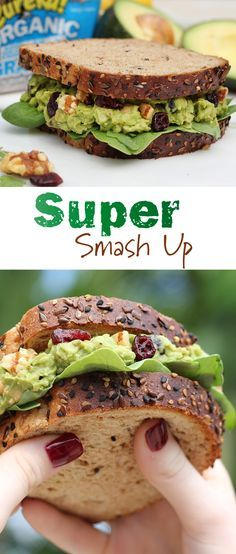 Super Smash Up: This vegan sandwich is bright and delicious atop eureka! Grainiac Organic Bread. Avocado, chickpeas, dried cranberries, walnuts and lemon juice are all smashed up and piled high with superfoods, spinach and arugula.