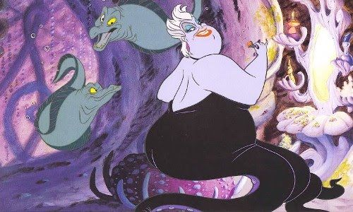 Ursula with her eel henchmen, Flotsam and Jetsum. Getting them wrapped around my arm