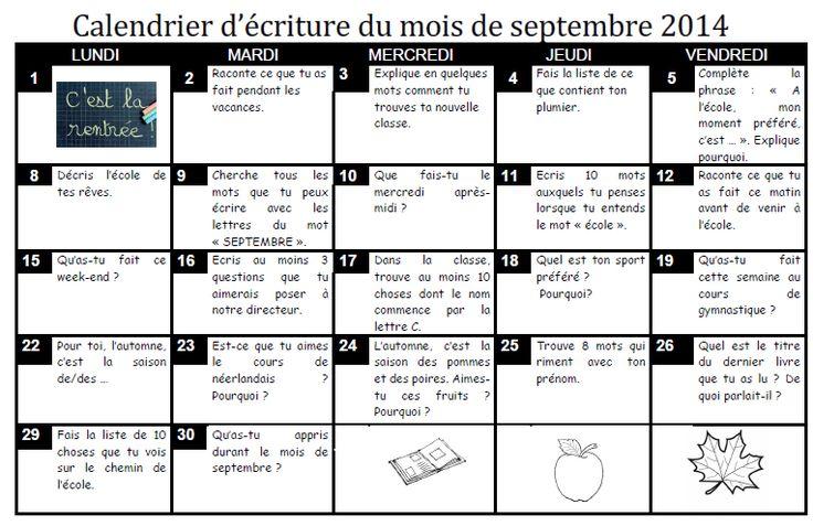 Calendrier d'écriture, belgique, autonomie, rituels