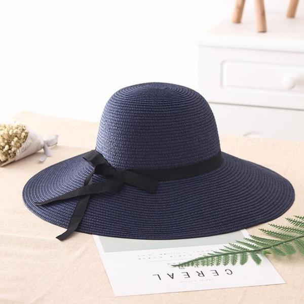 2019 Summer Straw hat Women Big Wide Brim Beach hat Sun hat Foldable Sun Block UV Protection Panama hat