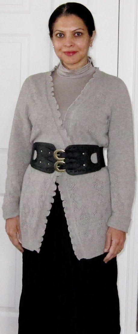 Uniqlo Heattech turtleneck, Cynthia Rowley cashmere cardigan, Charlotte Russe corset belt, broomstick pleat silk maxi skirt - 2016