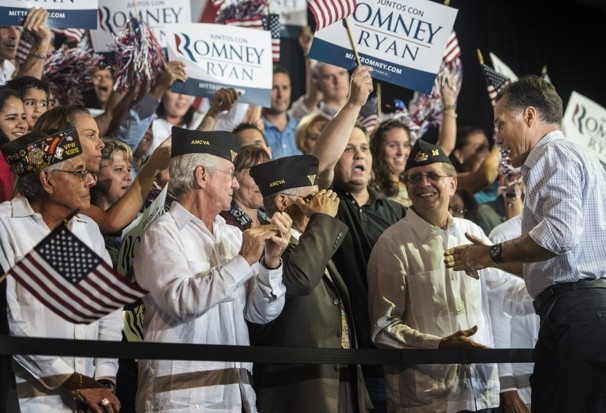 93 Romney in Florida    Sept. 19, 2012     Veterans greet Romney at the rally in Miami. Many of the Latinos in Miami are Cuban Americans, who have been more inclined to support Republican candidates because of their opposition to lifting trade embargoes with communist Cuba.    Sept. 20, 2012