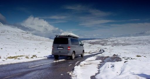 VW T5, Muck, Isle of Rum, Eigg, Ardnamurchan, Van (Car), Inner Hebrides, Scotland, Snow-Covered, Atlantic Ocean, Blue Sky, Road Traffic, Great Britain, Cloud, Driving (Procedure), Street, Coast, Winter, Non Urban Scene, Mountain Region, Travel Destination, Western Europe, Mountains, Sea (Landscape), Body of Water, Moving (Motion), Sunshine, People, Europe (Continent), Day, Stock Footage,