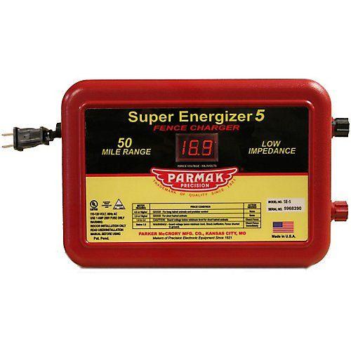 Parmak Super Energizer 5 Low Impedance 110/120 Volt 50 Mile Range Electric Fence Controller SE5  http://www.handtoolskit.com/parmak-super-energizer-5-low-impedance-110120-volt-50-mile-range-electric-fence-controller-se5/
