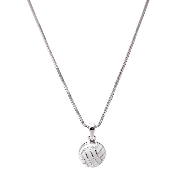 Show off the sport you love with Jumping Strike Volleyball Necklace. Three dimensional volleyball pendant is cute and fun to wear at the same time. It can be a thoughtful gift for someone you love. -