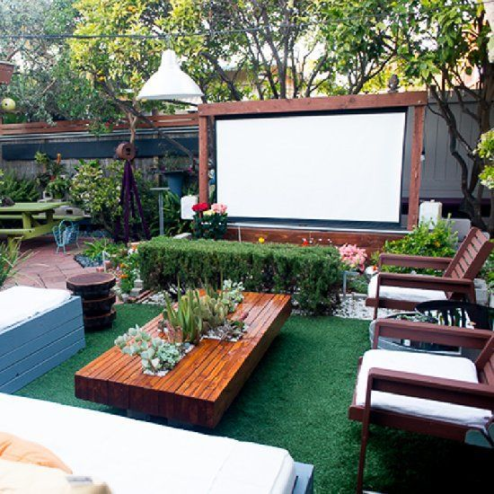 Backyard movie screen a house is a home when it Modern backyards