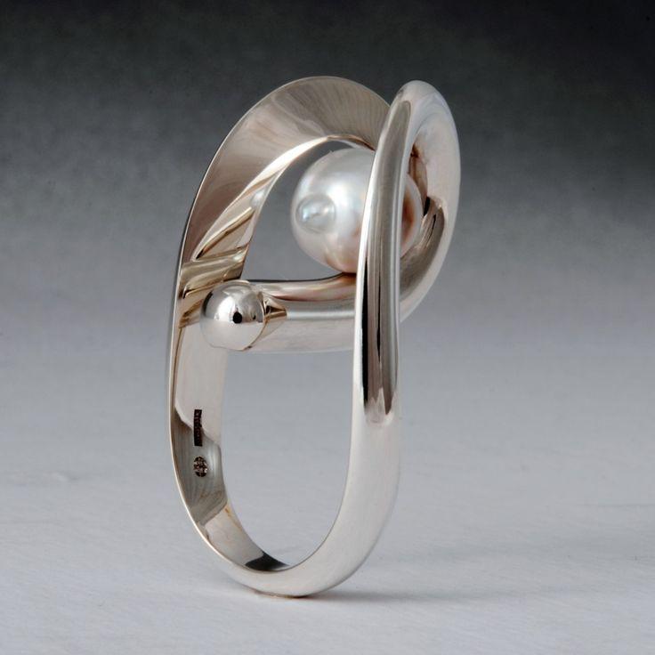 Sterling silvera and Tahiti pearl ring by Wesley Harris https://wesleyharris.ca/