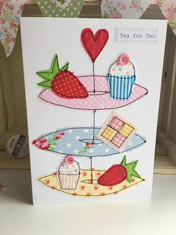 Handmade afternoon tea greetings card present card birthday