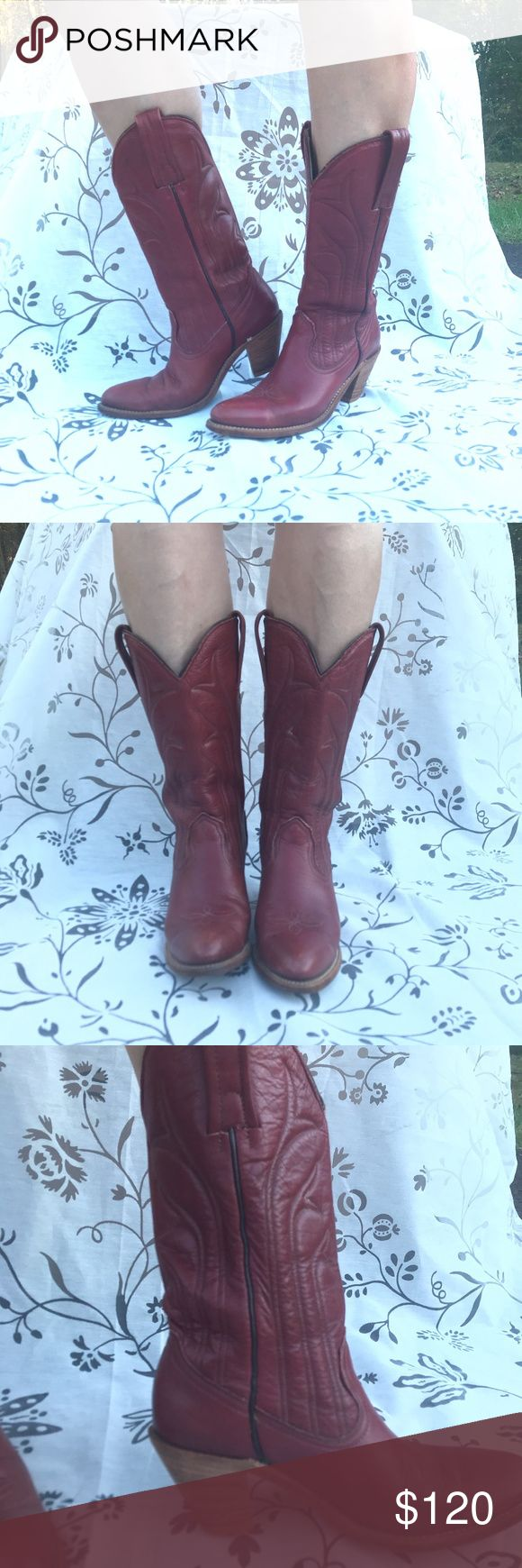 """Vintage Frye Cowboy Boots Red leather Vintage Frye boots in excellent vintage condition  I cannot find a size on these, but I am a true 8, and they just fit me, so I will say they are 7.5 to 8.  They are super comfy and have mostly wear on the bottoms, You will love these boots! 2.5"""" Heel.  These are a reddish Brown. Frye Shoes"""